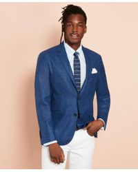 Brooks Brothers Wool-blend Basketweave Two-button Sport Coat - Blue