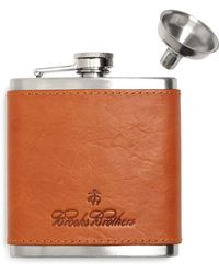 Brooks Brothers Leather Flask - Brown