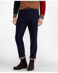 Brooks Brothers Clark Fit Flannel Lined Chinos - Blue
