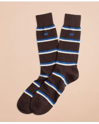 Brooks Brothers - Double Stripe Crew Socks - Lyst