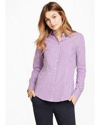 Brooks Brothers Gingham Stretch Cotton Poplin Shirt - Purple