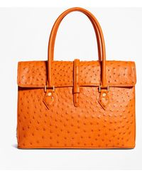 Brooks Brothers | Ostrich Large Satchel | Lyst
