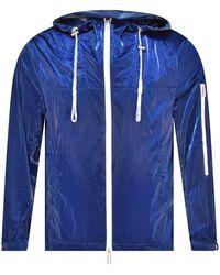 Emporio Armani Blue High Shine Hooded Jacket