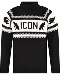 DSquared² Icon Wool Knitted Turtleneck Jumper - Black