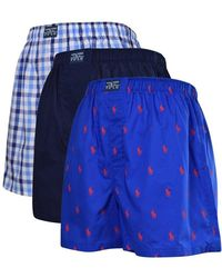Polo Ralph Lauren - Blue/multi Woven Three Pack Classic Boxers - Lyst