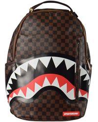 Sprayground Sharks In Paris Gold Zipper Backpack - Brown