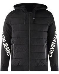Calvin Klein Black & White Stretch Nylon Logo Jacket