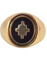 Marcelo Burlon Gold Tone Logo Ring - Metallic