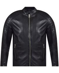 BOSS - Black Slim-fit Lightly Waxed Leather Jacket - Lyst