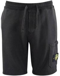 Stone Island Black Combat Jogger Shorts