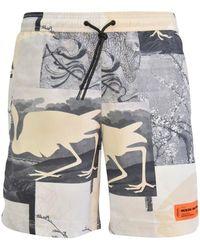 Heron Preston Gray Cut Out Print Swim Shorts