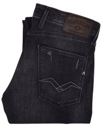Replay - Dark Grey Distressed Anbass Jeans - Lyst