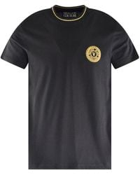Versace Jeans Couture Black & Gold Embroidered T-shirt