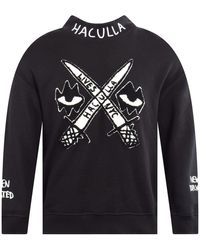 Haculla Eyez And Swordz Mock Neck Knit - Black