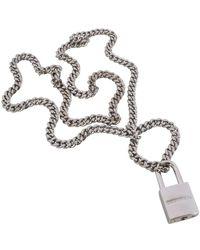 DSquared² Silver Padlock Detail Pendant Necklace - Metallic