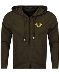 True Religion - Khaki/gold Back Logo Zip Hoodie - Lyst