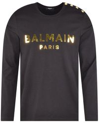 Balmain Black & Gold Button Shoulder L/s T-shirt