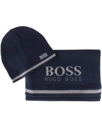 BOSS Navy Hat And Scarf Set - Blue