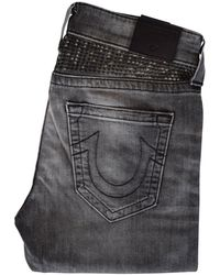 True Religion - Grey Rocco Studded Skinny Jeans - Lyst
