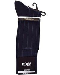 BOSS - Dark Blue 'george' Pinstripe Socks - Lyst