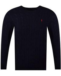 Polo Ralph Lauren - Navy Cotton Pullover Jumper - Lyst