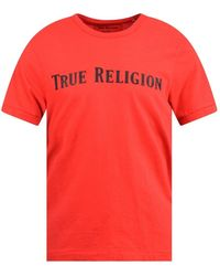 True Religion Red Straight Logo T-Shirt - Rojo