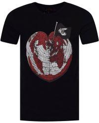 Vivienne Westwood Anglomania - Vivienne Westwood Heart World Print T-shirt In Black - Lyst