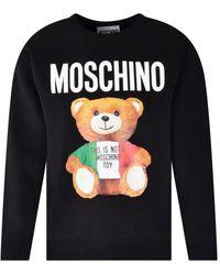 Moschino Black Graphic Teddy Print Sweatshirt