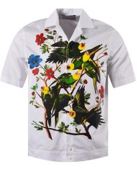 DSquared² White Bird Print Short Sleeve Shirt