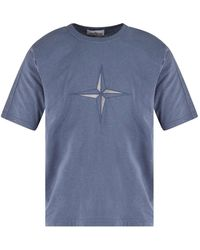 Stone Island - Slate Blue Oversized Embroidered Logo T-shirt - Lyst