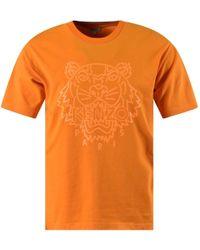 KENZO Orange Neon Tiger Logo T-shirt