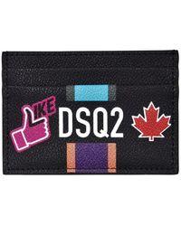 DSquared² Black Travel Stickets Canvas Cardholder