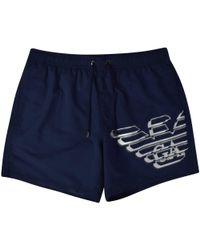 Emporio Armani - Navy/silver Eagle Logo Swim Shorts - Lyst