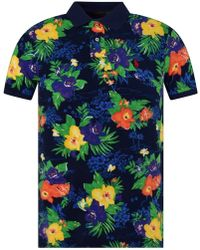 Polo Ralph Lauren Floral Slim Polo Shirt - Blue