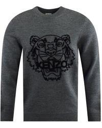 KENZO Gray Woolen Tiger Sweater