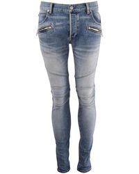 Balmain Light Wash Denim Skinny Jeans - Blue