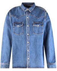 True Religion - Medium Wash Western Denim Shirt - Lyst