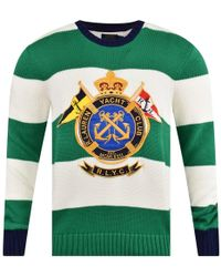 Polo Ralph Lauren Green/white Stripe Crest Logo Knit Jumper