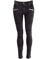 Balmain Dark Grey Denim Skinny Jeans - Black