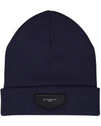 Givenchy - Navy Plaque Logo Beanie Hat - Lyst