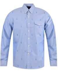 Polo Ralph Lauren Baby Blue All Over Print Long Sleeve Shirt