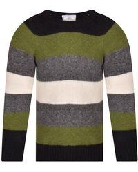 AMI Green,black,cream,grey Striped Knitted Sweat