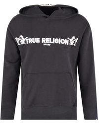 True Religion Black & White Embroidered Pullover Hoodie