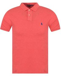 Polo Ralph Lauren Pink Heather Slim Fit Polo Shirt