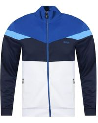 BOSS Athleisure - White/blue Track Top - Lyst