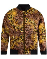 9bf98e48f Versace Jeans - Black/gold Leo Baroque Reversible Jacket - Lyst