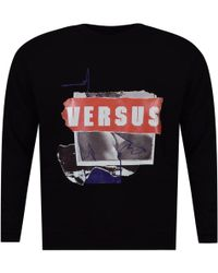 ed44c395 Lyst - Versus Black/white 90s Logo Sweatshirt in Black for Men