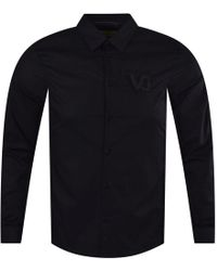 Versace Jeans Black Vj Logo Long Sleeve Shirt