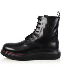 Alexander McQueen Black Leather Oversized Boots
