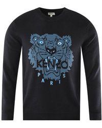 KENZO Tiger Motif Print Sweatshirt - Blue